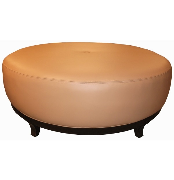Wood based round leather ottoman with buttontest